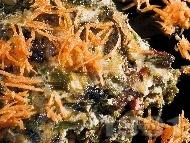 Рецепта Постна спаначена мусака с ориз, яйца, лук и прясно мляко на фурна